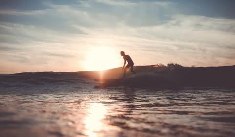 Surfeur Coucher de soleil Montalivet