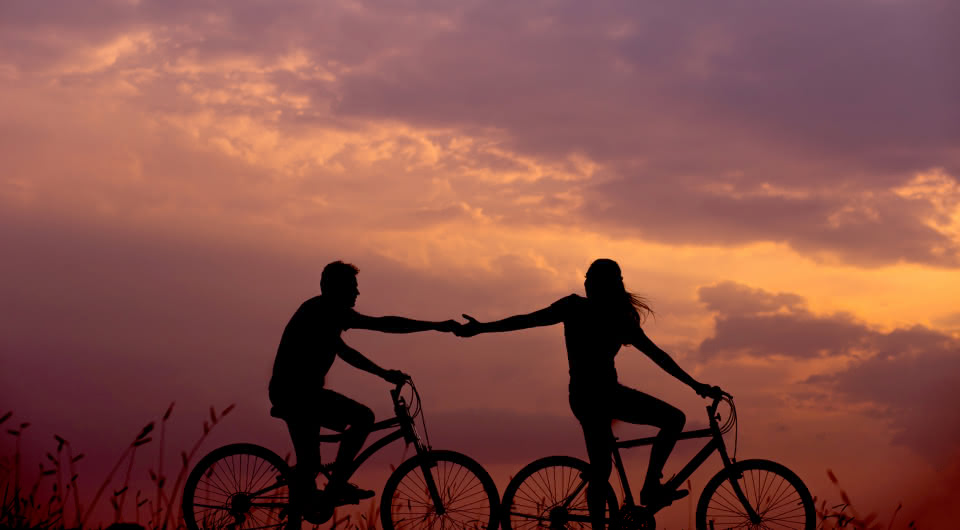 Vélo coucher de soleil Grayan